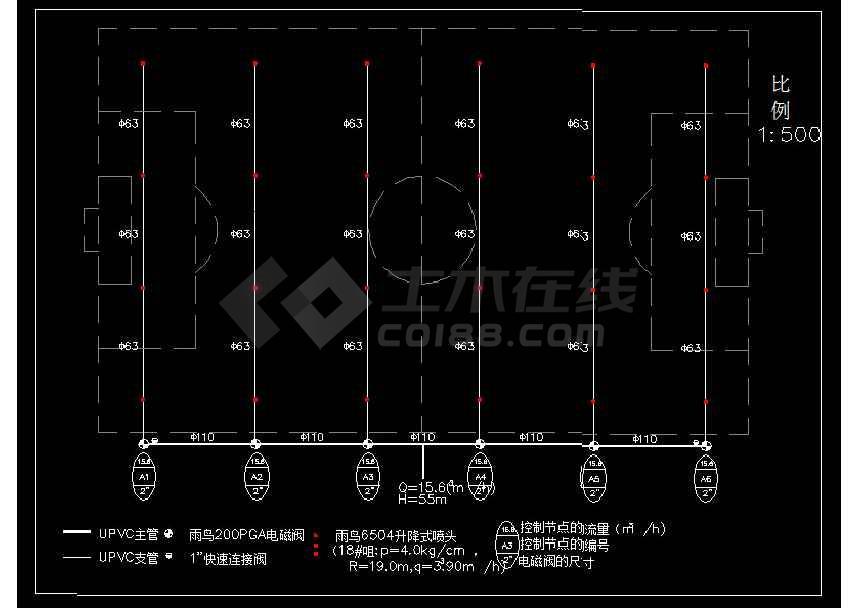 一整套标准体育场灌溉系统设计图纸cad-图1