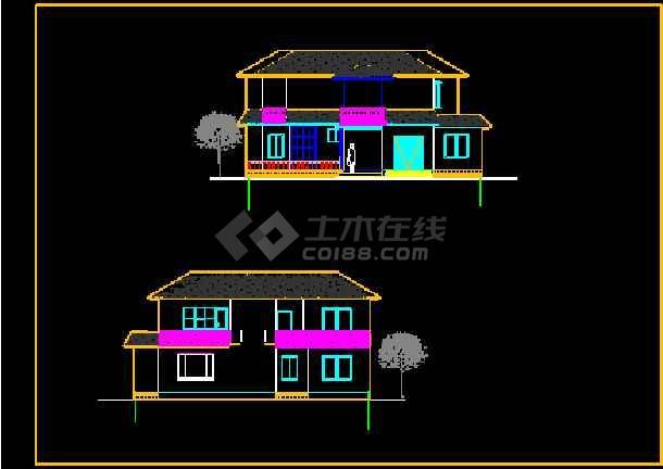 某市某小区小别墅设计方案CAD图纸-图2