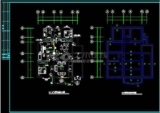 某小区某别墅样板房竣工图建设CAD图纸-图3