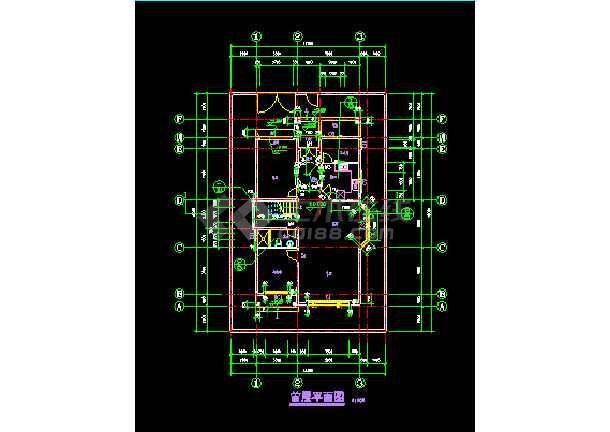 某小区水岸豪宝石A型别墅设计CAD图纸-图1