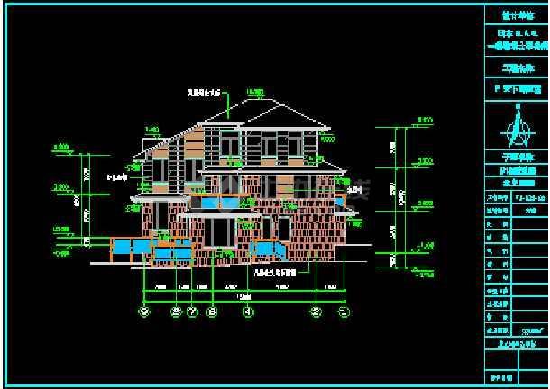 某区三层日式别墅全套建筑施工图CAD图纸-图3