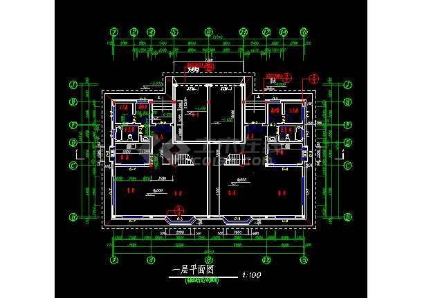 某小区三层双拼别墅施工图ACAD图纸-图1