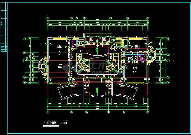 某市世财滨江文园联体别墅施工图CAD图纸-图2