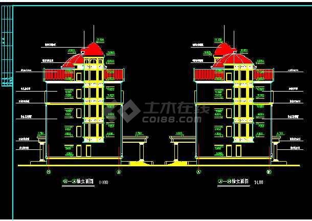 某市世财滨江文园联体别墅施工图CAD图纸-图3