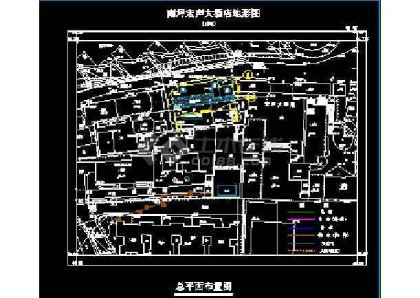 某市宏声大酒店建筑结构CAD施工设计图纸-图1