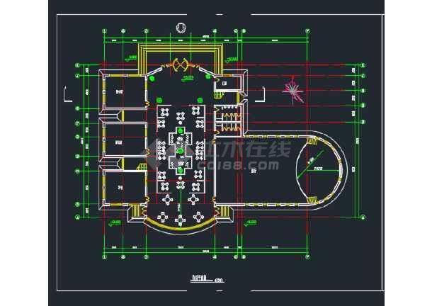 某地大学生活动中心建筑CAD平面图-图1