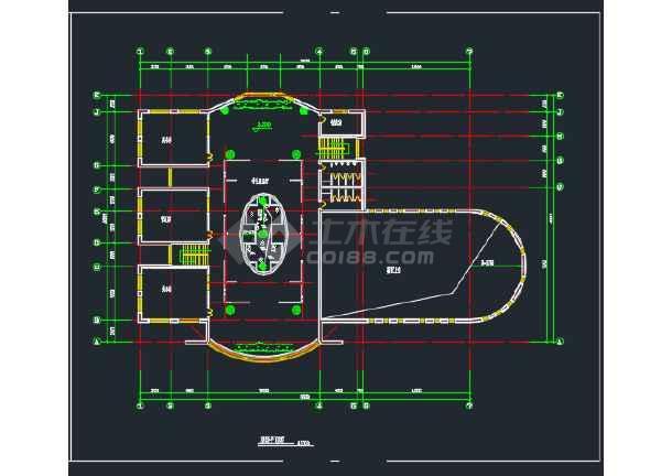 某地大学生活动中心建筑CAD平面图-图2
