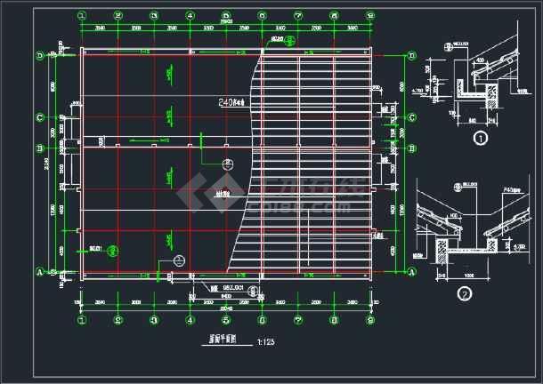 某地中学食堂建筑CAD施工图(含4张)-图1