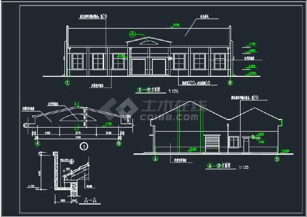 某地中学食堂建筑CAD施工图(含4张)-图2