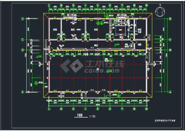 某地中学食堂建筑CAD施工图(含4张)-图3