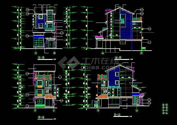 一套经典的四层别墅建筑结构图纸(共11张)-图3