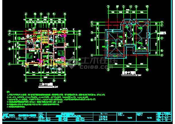 某合院别墅建筑CAD施工设计南北入口图纸-图1