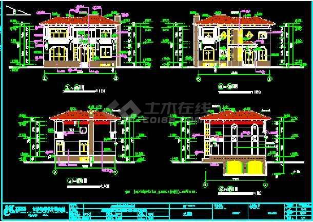 某合院别墅建筑CAD施工设计南北入口图纸-图2