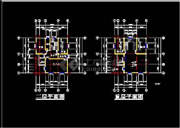 12个别墅建筑CAD施工设计方案平立面图纸-图1