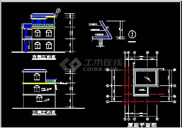 12个别墅建筑CAD施工设计方案平立面图纸-图2