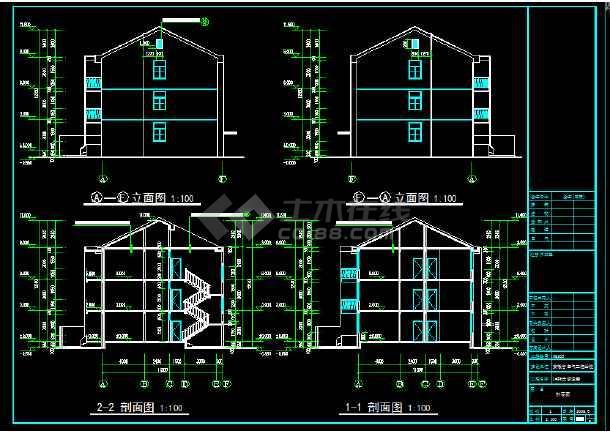 安徽省电气工程学校3层恢复楼cad图纸-图2