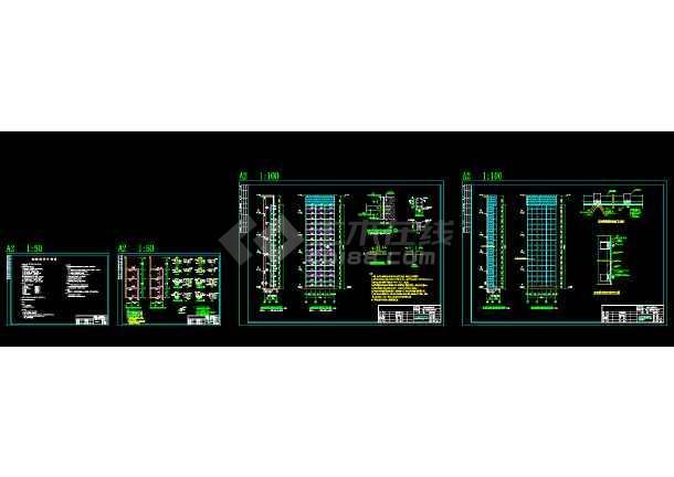 点击查看某观光电梯玻璃幕墙钢结构施工图纸(含设计说明)第1张大图