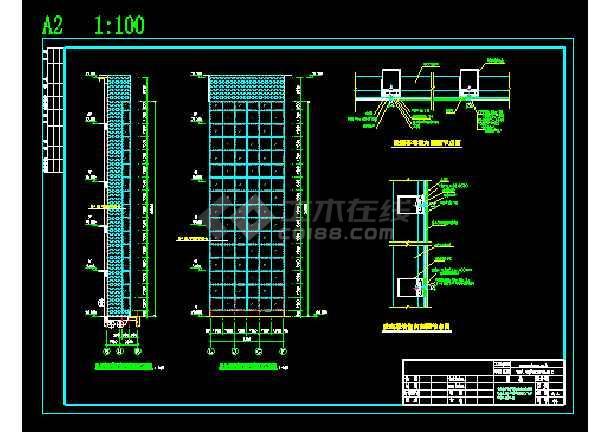 点击查看某观光电梯玻璃幕墙钢结构施工图纸(含设计说明)第2张大图