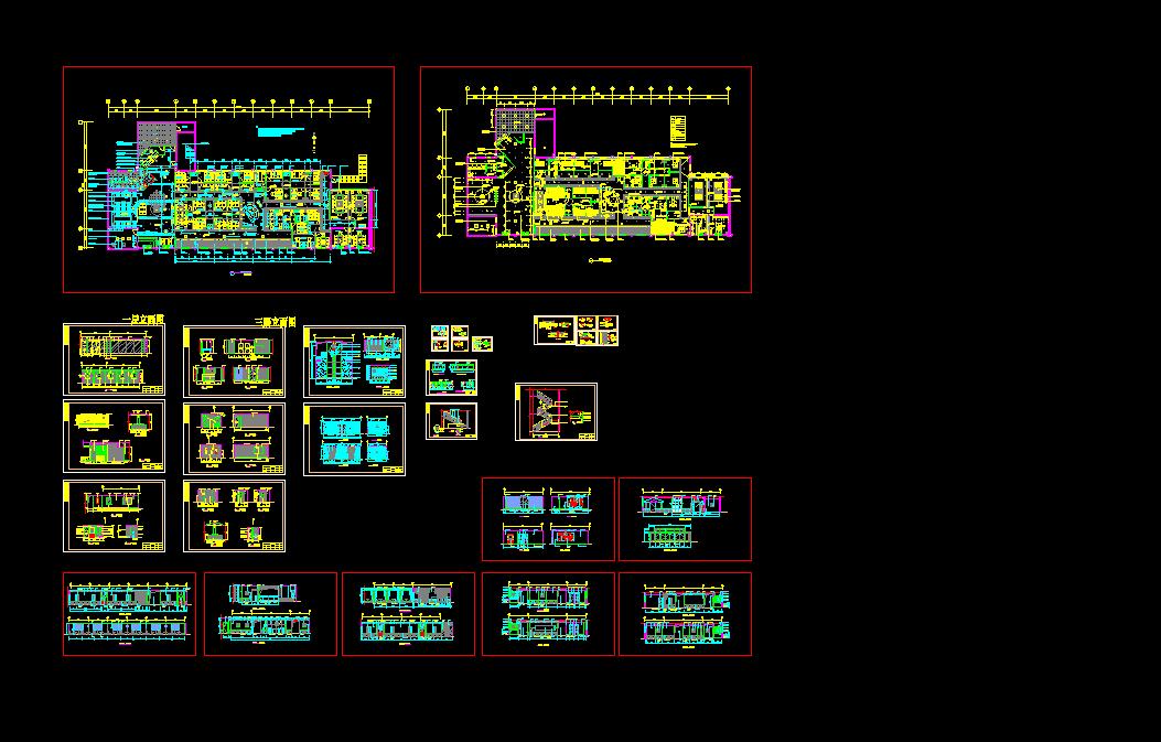 某五星级会所茶吧装修设计cad全套施工图图片1