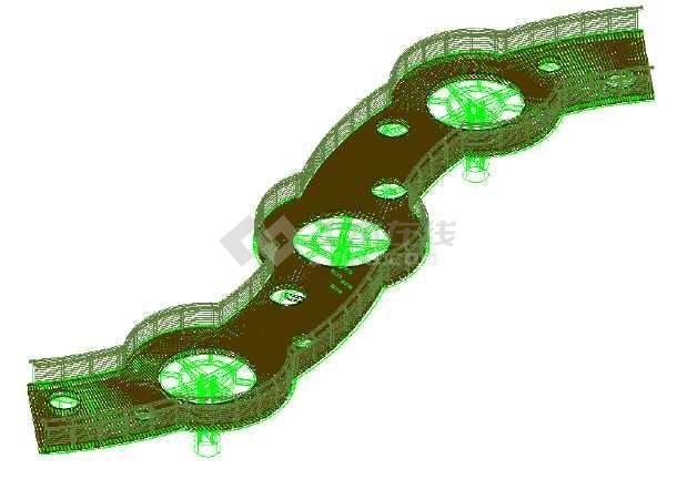 园博园人行景观桥CAD三维实体模型-图1