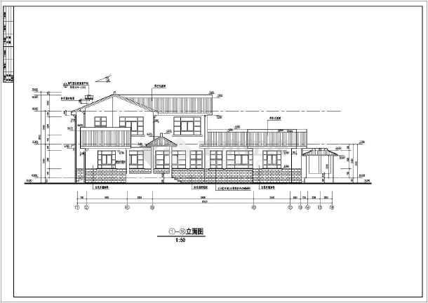 中国某市古典别墅施工图建设CAD图纸-图一