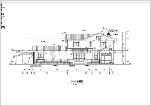 中国某市古典别墅施工图建设CAD图纸-图二