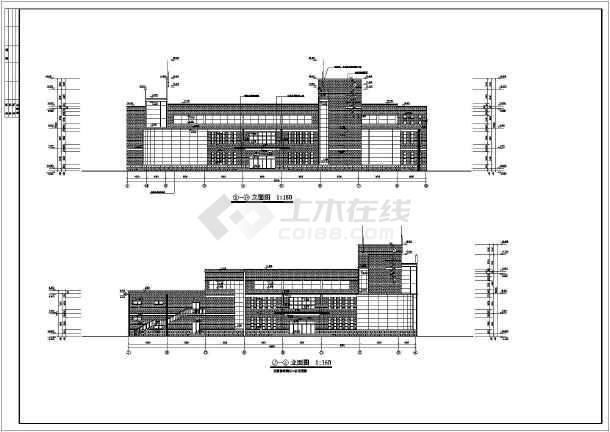 知名学校简约食堂全套建筑设计施工图(带效果图)-图一