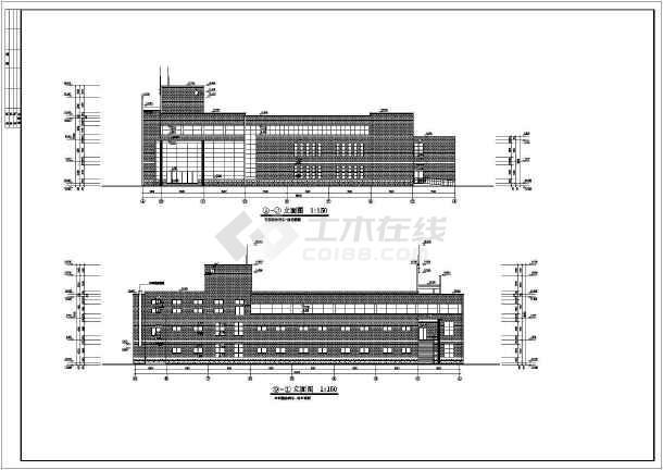 知名学校简约食堂全套建筑设计施工图(带效果图)-图二