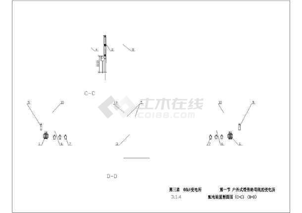 66kv变电站标准cad电气施工图纸-图3