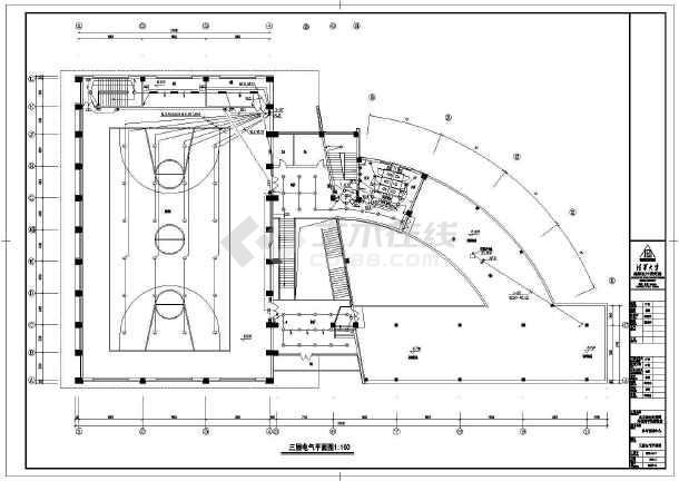 某大型体育馆全套电气cad施工设计图-图2