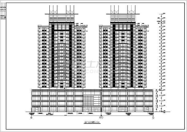 点击查看某地方陈家庄商住楼施工图CAD图纸第1张大图