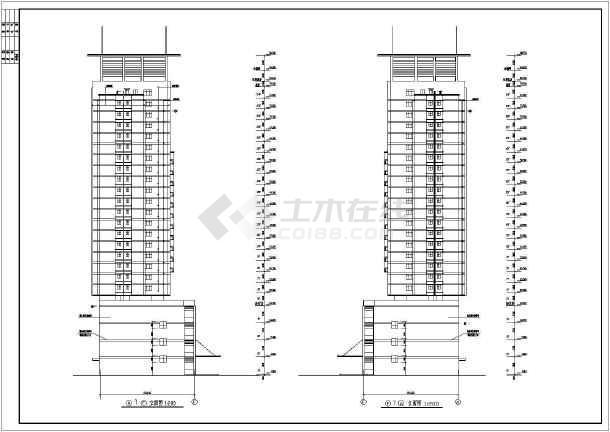 点击查看某地方陈家庄商住楼施工图CAD图纸第2张大图