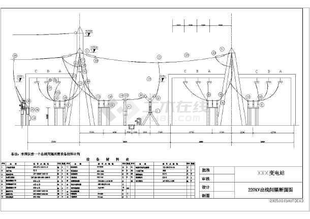 220kV变电站设计cad电气施工图-图1