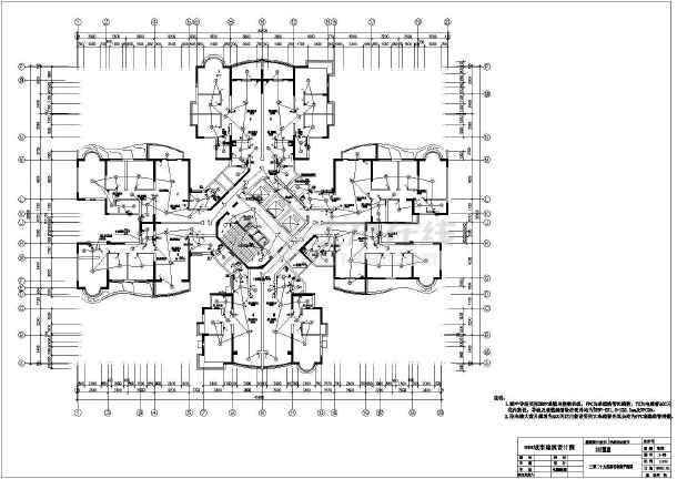 某住宅楼cad电气施工成套设计图纸-图1