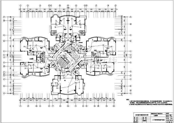 某住宅楼cad电气施工成套设计图纸-图2