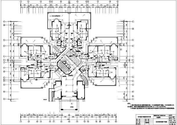 某住宅楼cad电气施工成套设计图纸-图3