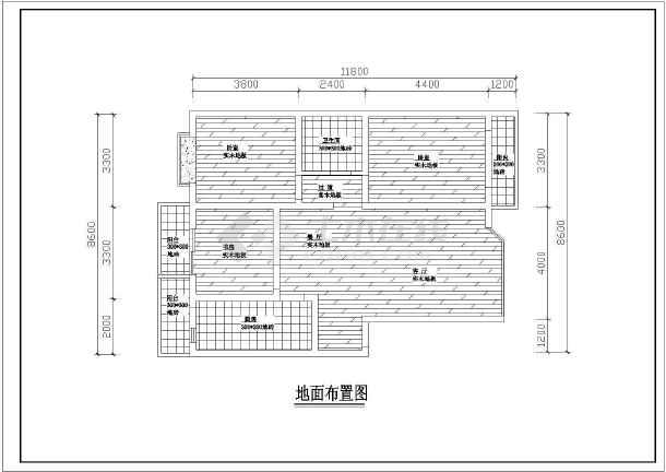 点击查看百平米户型室内设计装修cad施工图第1张大图