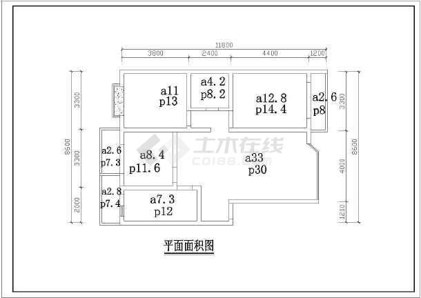点击查看百平米户型室内设计装修cad施工图第2张大图