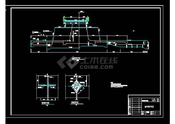 内湖水利工程堰闸设计图纸-图3