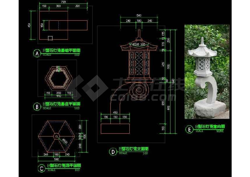 中式石灯笼园林景观设计cad施工图(共3张)-图1