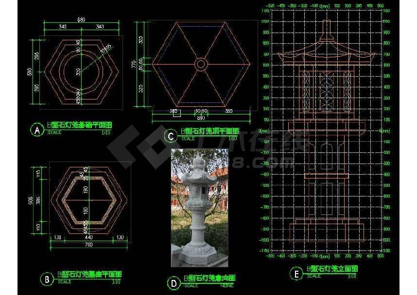 中式石灯笼园林景观设计cad施工图(共3张)-图2