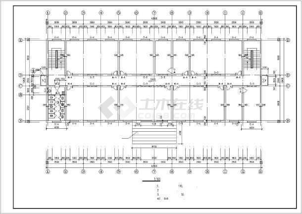 某学校综合楼施工建筑CAD设计图纸-图2