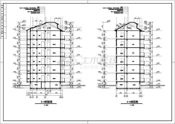 某住宅平立剖面建筑CAD施工设计图-图一