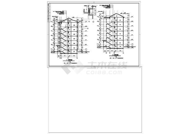 某住宅平立剖面建筑CAD施工设计图-图二