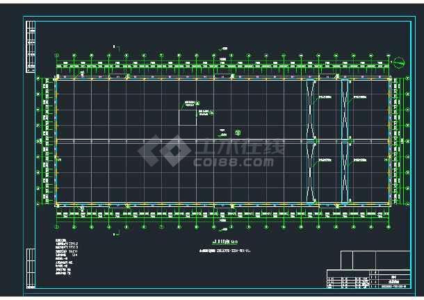 某地双跨2X27米门式钢架重型厂房建筑结构图-图1