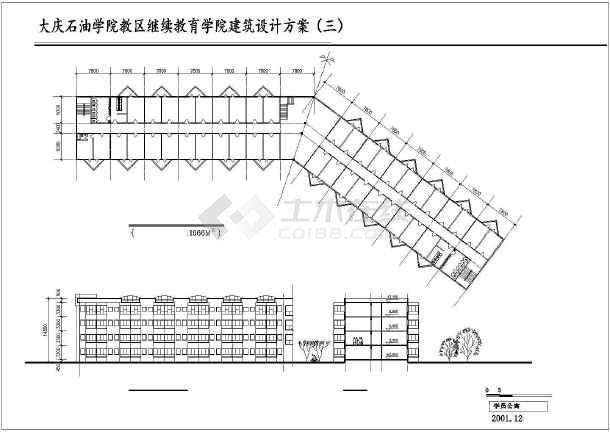 某大连石油学院设计建筑CAD方案图纸-图3