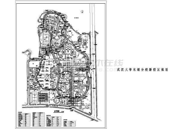 武汉大学东湖分校新校区总平面建筑CAD设计图-图1