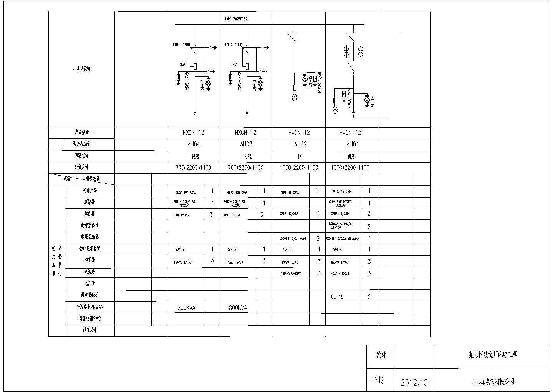 某线缆厂配电工程设计高低压开关柜cad电气图纸图片1