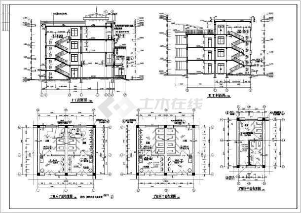 某学校建筑施工CAD设计图纸-图3