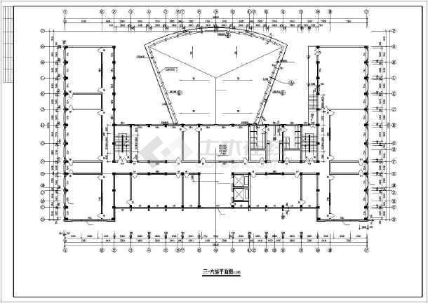 某市学校综合楼全套建筑CAD施工设计图-图2